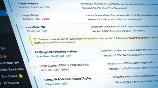 A shot of a Wordpress screen listing available plugins.