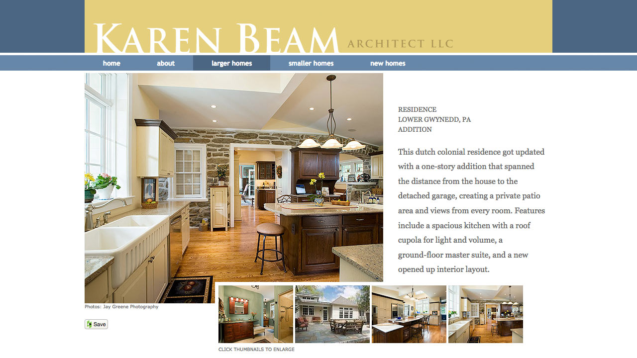 A screen shot of a photo gallery on an interior page on Karen Beam's web site.