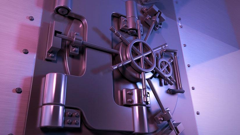 Image of a steel vault door to illustrate security.